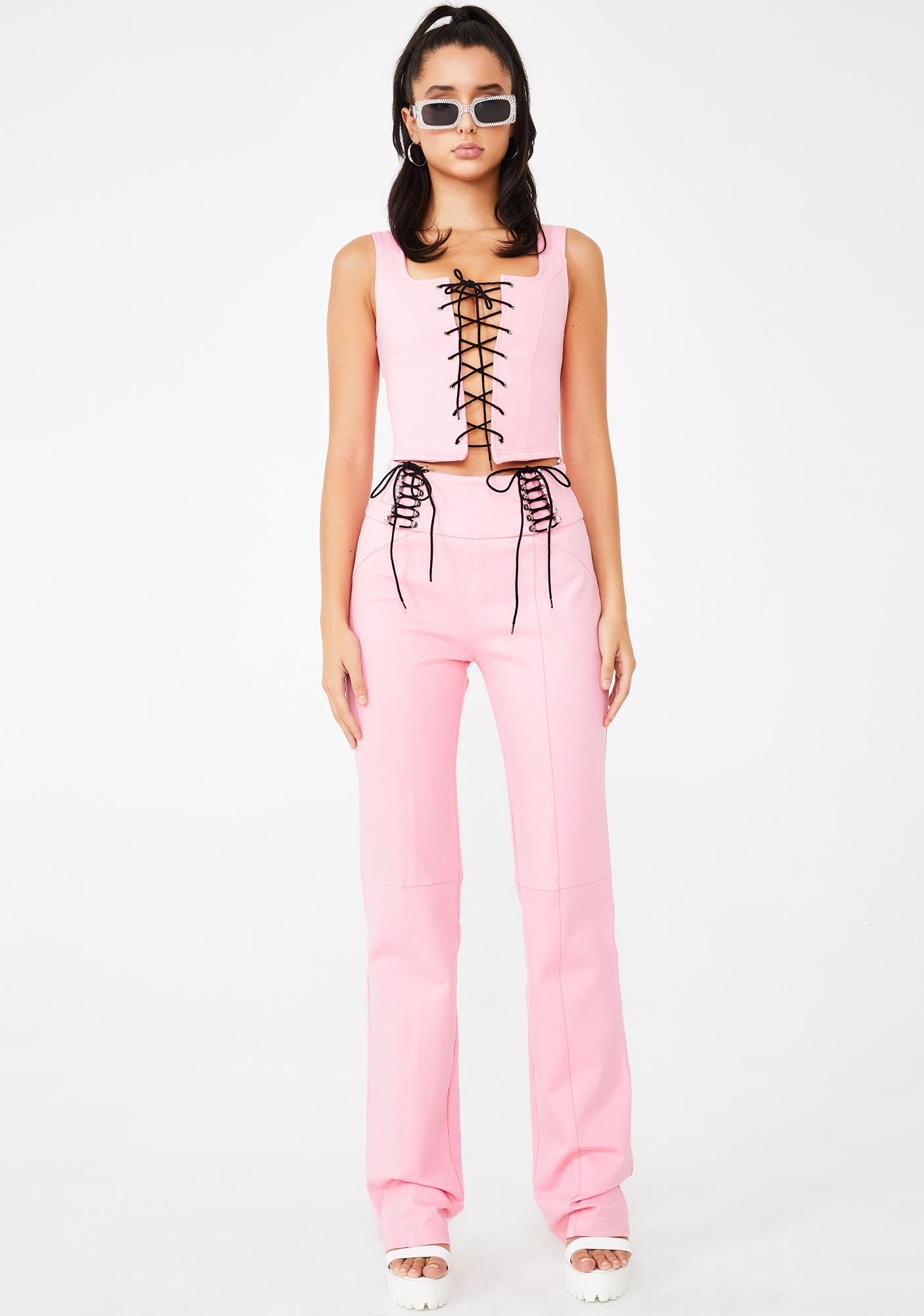 I AM GIA Pink Carolina Lace-Up Pants