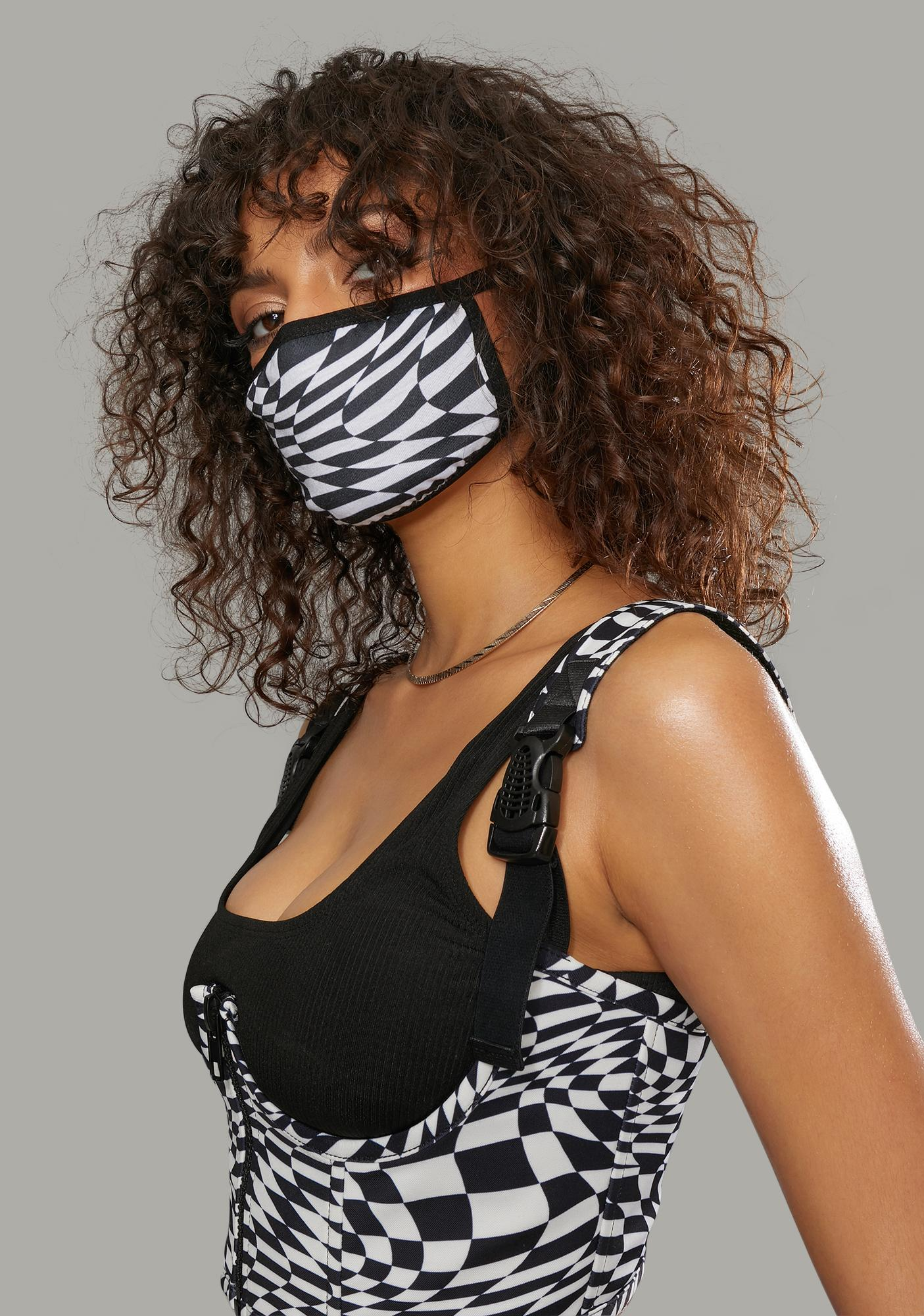 Poster Grl Warped Realm Checkered Face Mask