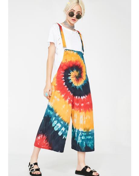 Spiral Sunshine Tie Dye Overalls