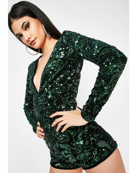 Emerald She's A Dream Velvet Romper