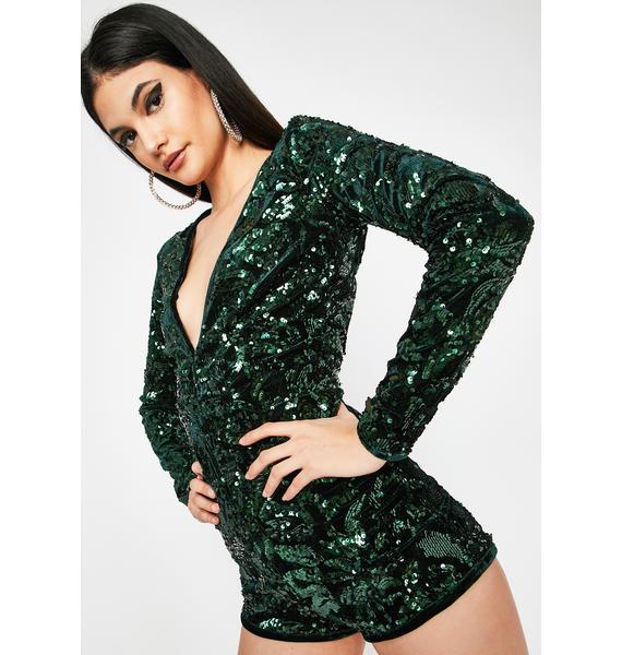 Emerald She's A Dream Velvet Romper