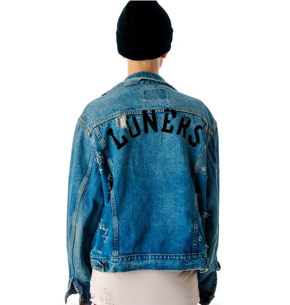 Obesity and Speed Loners Destroyed Denim Jacket