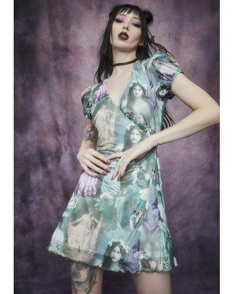 Ink And Feather Portrait Print Wrap Dress
