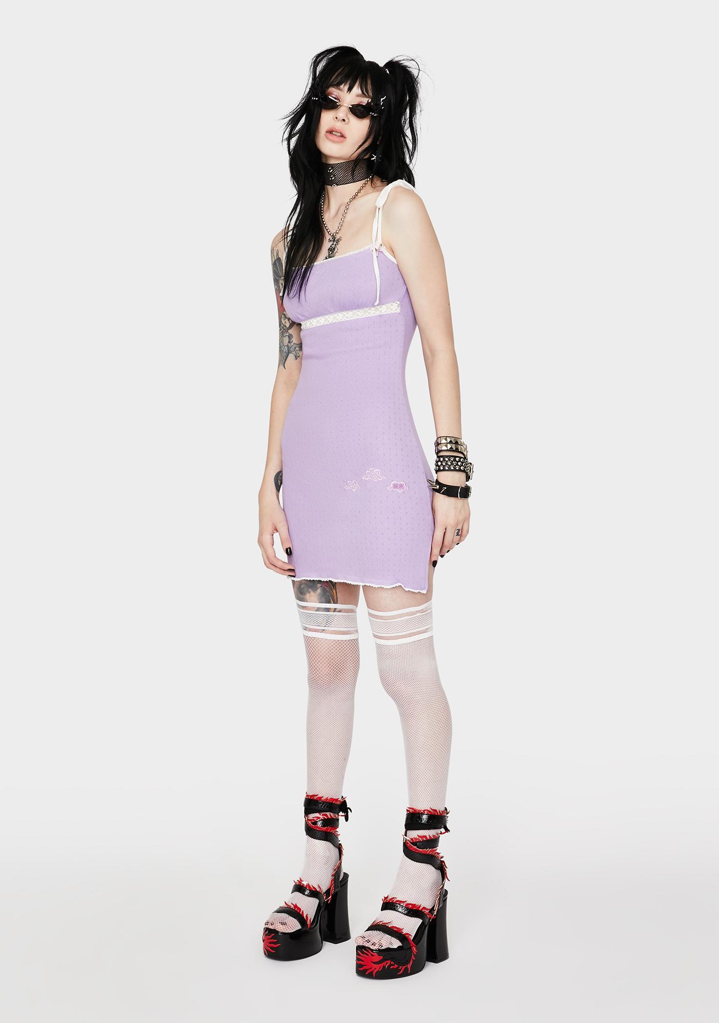 GANGYOUNG Light Purple Cloud Mini Dress