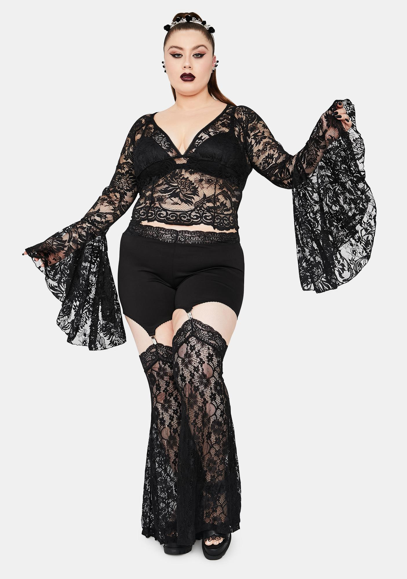 Widow Mystic Shadows Of Moonlight Lace Bell Sleeve Top