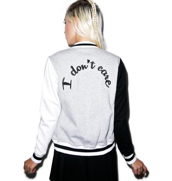Local Heroes I Don't Care Baseball Jacket