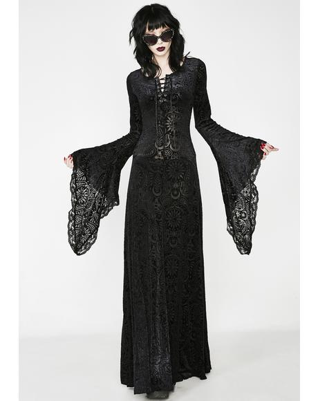 Mai Burnout Velvet Maxi Dress