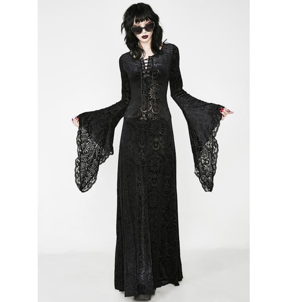 Killstar Mai Burnout Velvet Maxi Dress