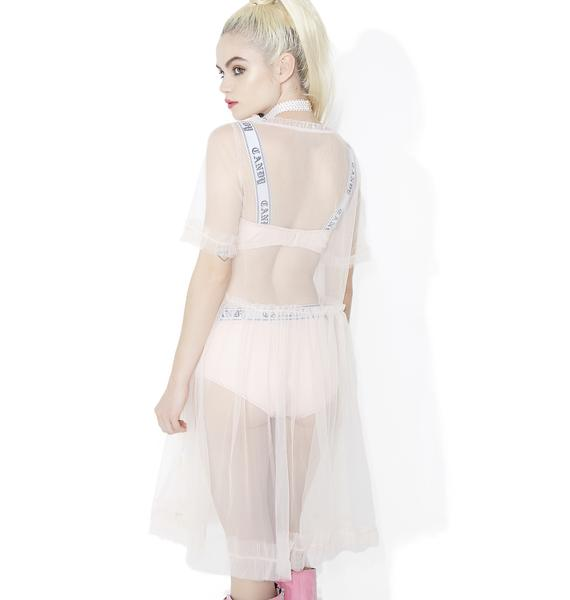 Sugar Thrillz Lips Are Sealed Sheer Babydoll Dress