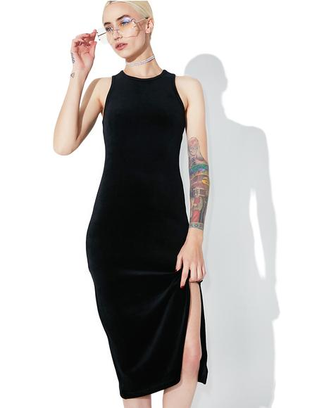 Velour Fitted Tank Dress