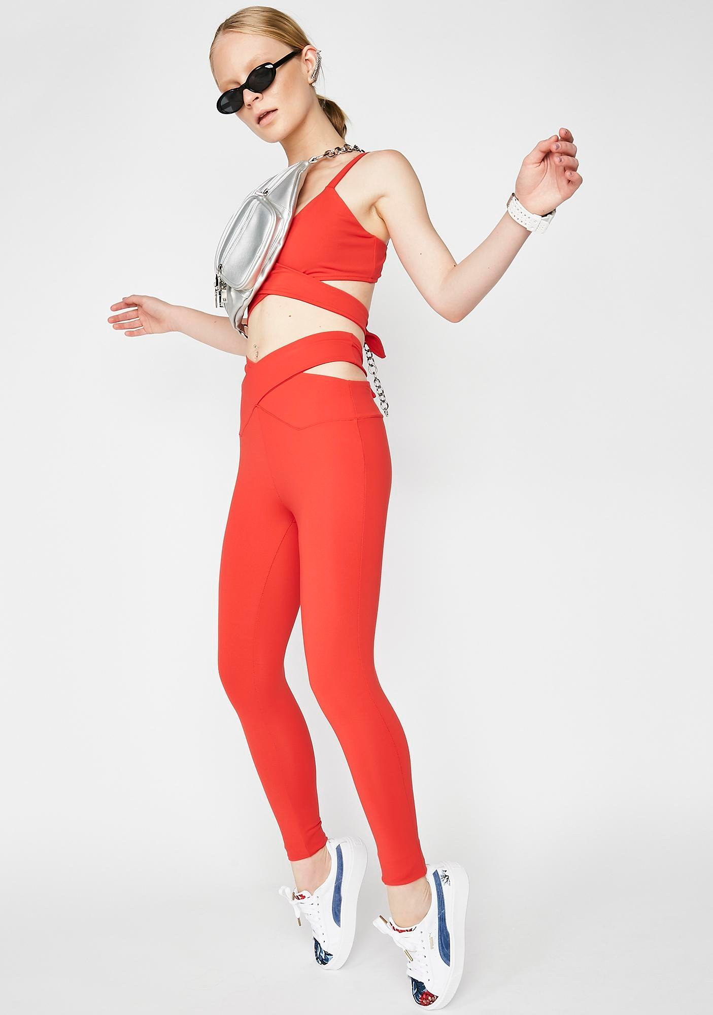 Year Of Ours Crossed Cut Out Waist Leggings