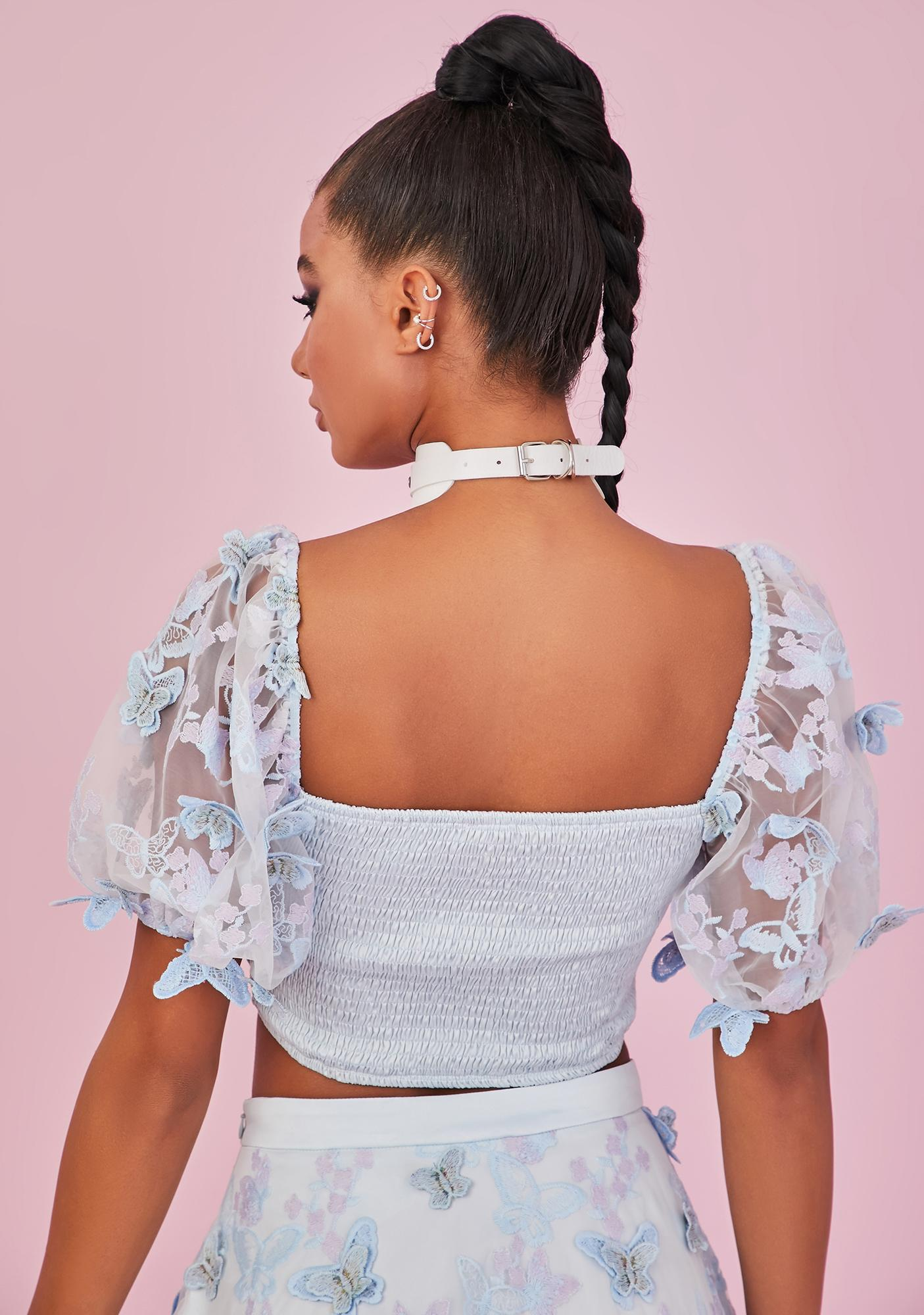 Sugar Thrillz Take Me Away Butterfly Crop Top