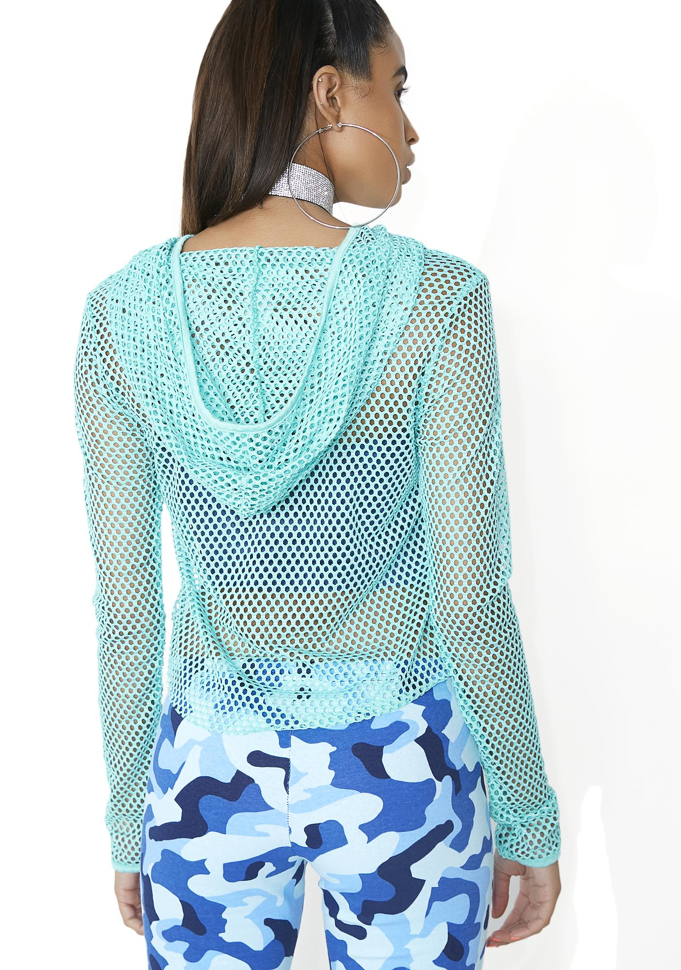 In The Riptide Fishnet Cropped Hoodie