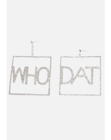 Who Dat Rhinestone Earrings