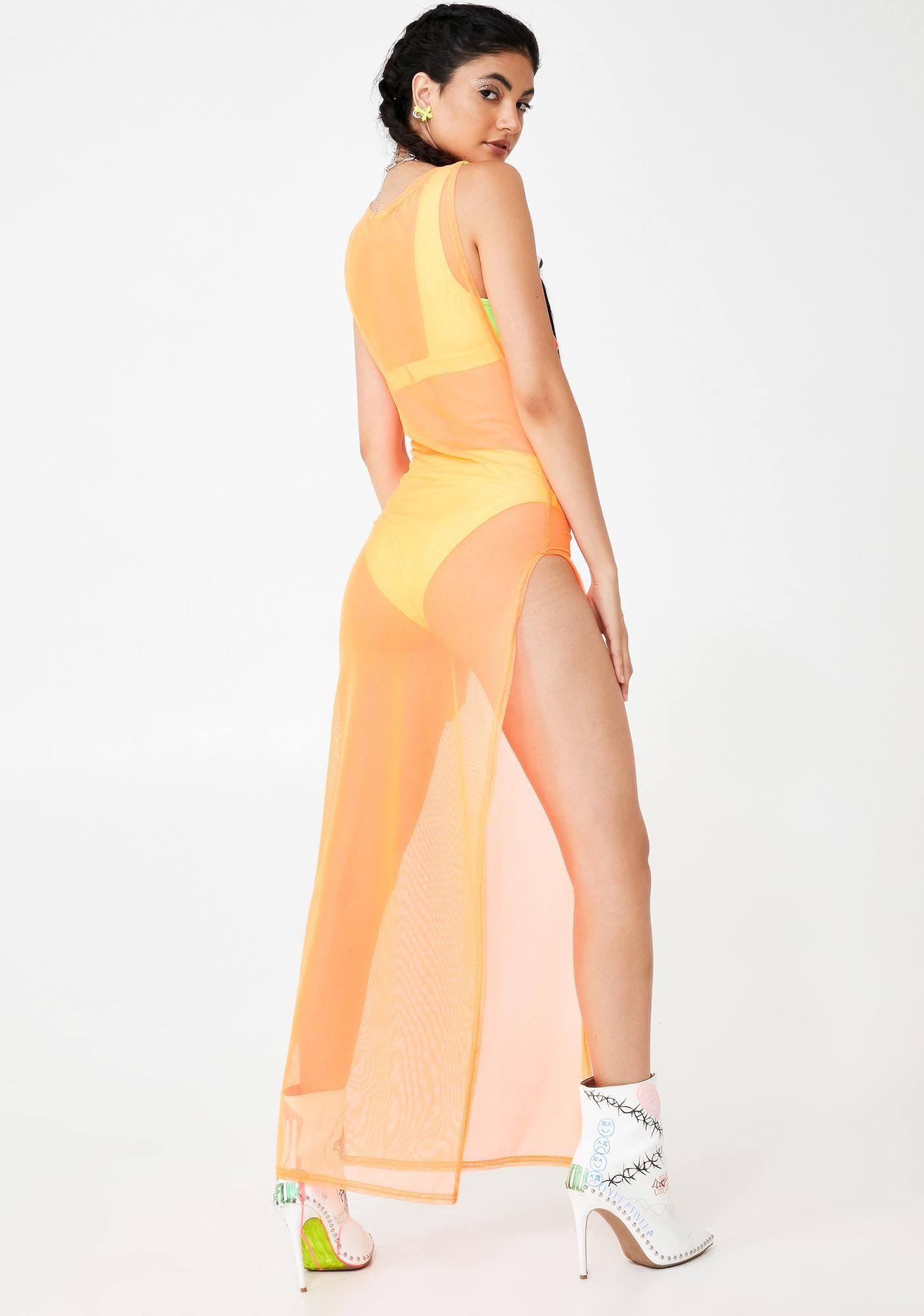 BADGAL BLVD Baecation Mesh Slit Dress