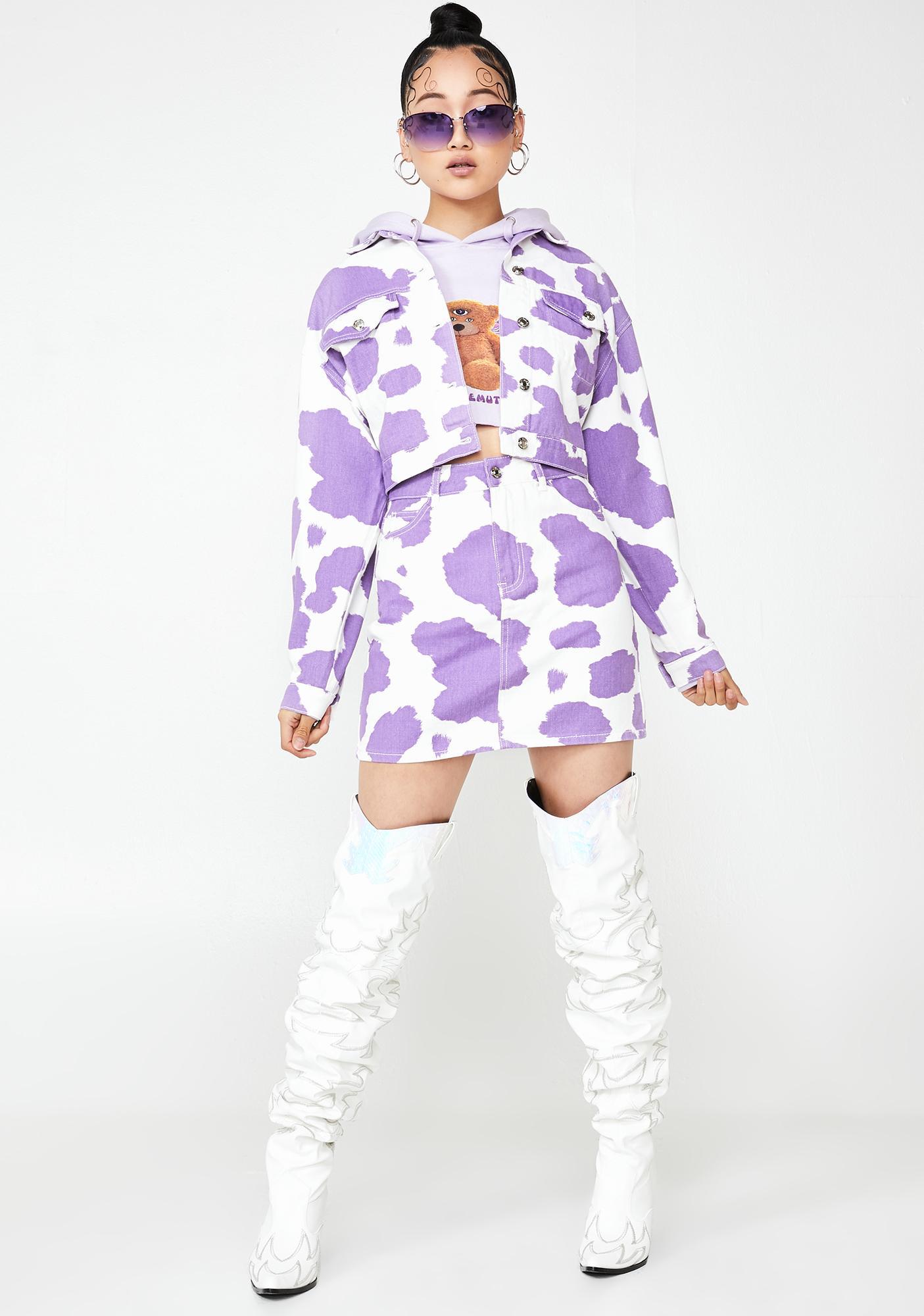 Jaded London Lilac Cow Print Denim Jacket