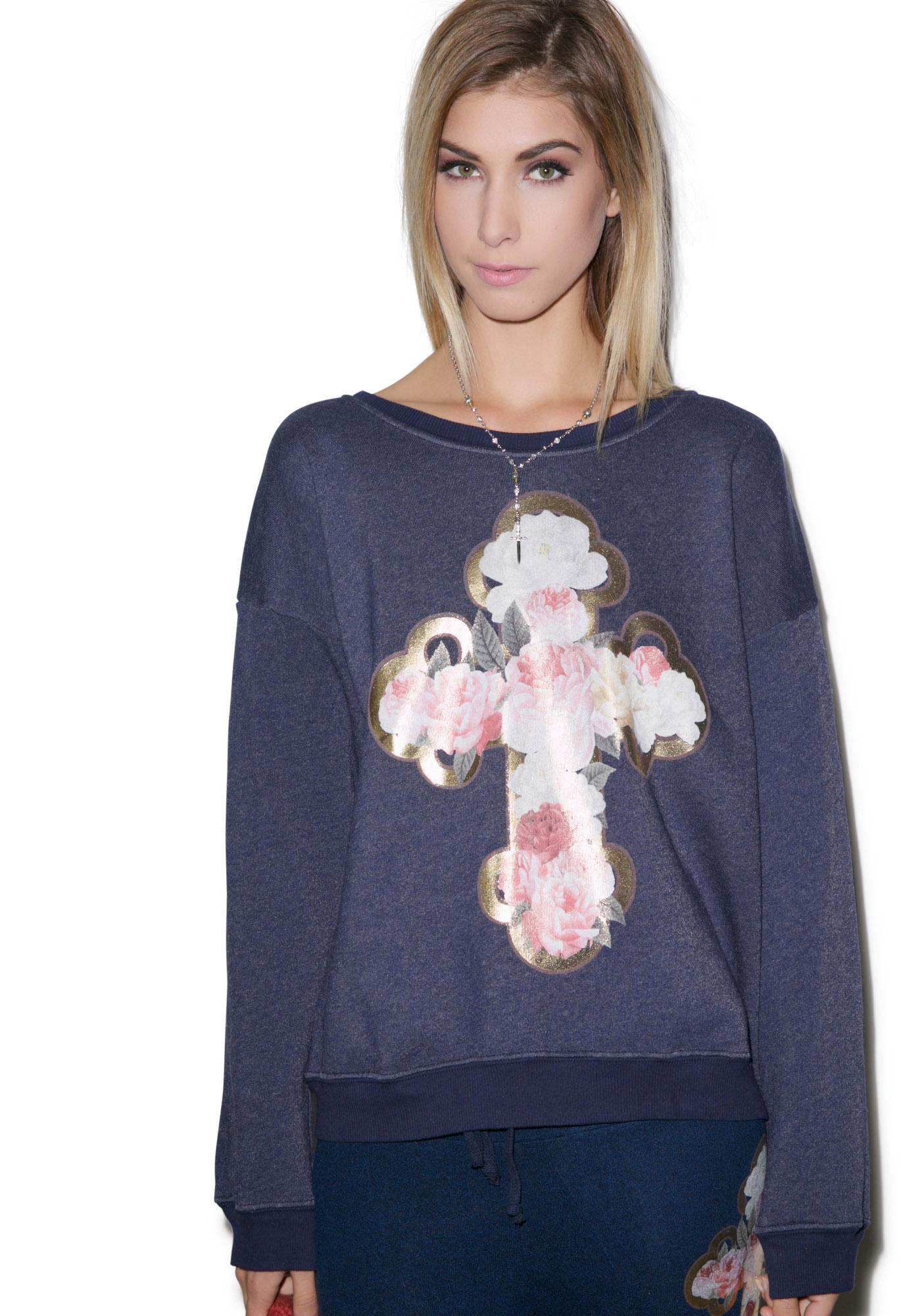 Wildfox Couture Celtic Rose Oversized Sweatshirt