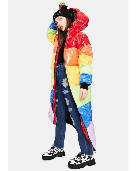 Sweet Retreat Rainbow Puffer Parka