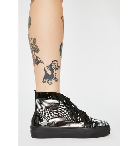 AZALEA WANG Black Jumpman Rhinestone Sneakers