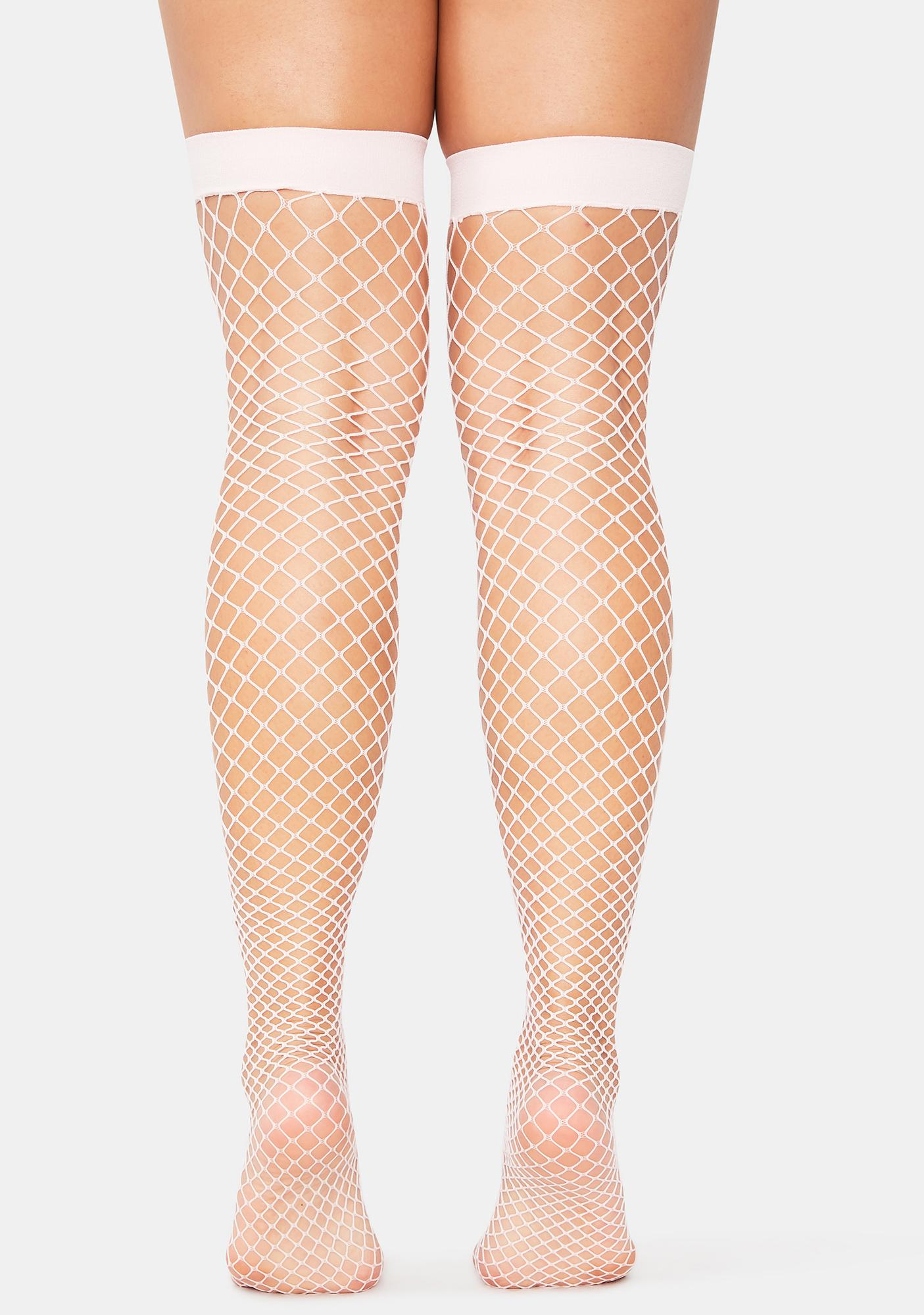 Lady Deadly Kisses Fishnet Thigh Highs