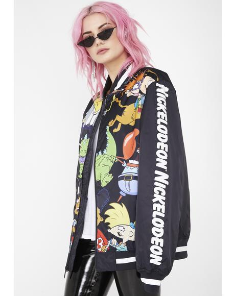 x Nickelodeon Mesh Print Bomber Jacket