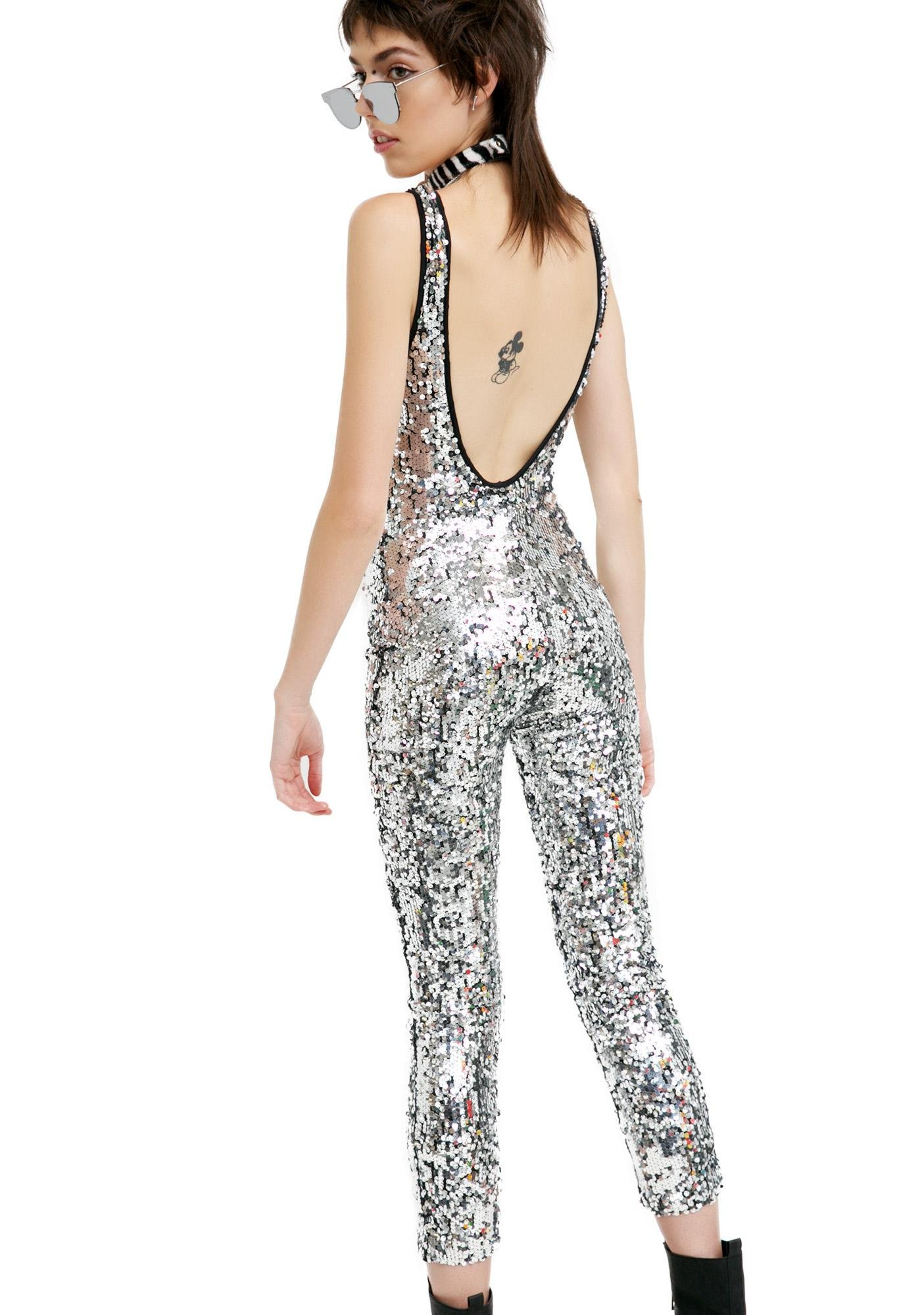 41451ec9716 Silver Sequin Jumpsuit