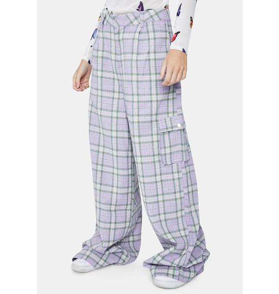 Daisy Street Lilac Checked Trousers