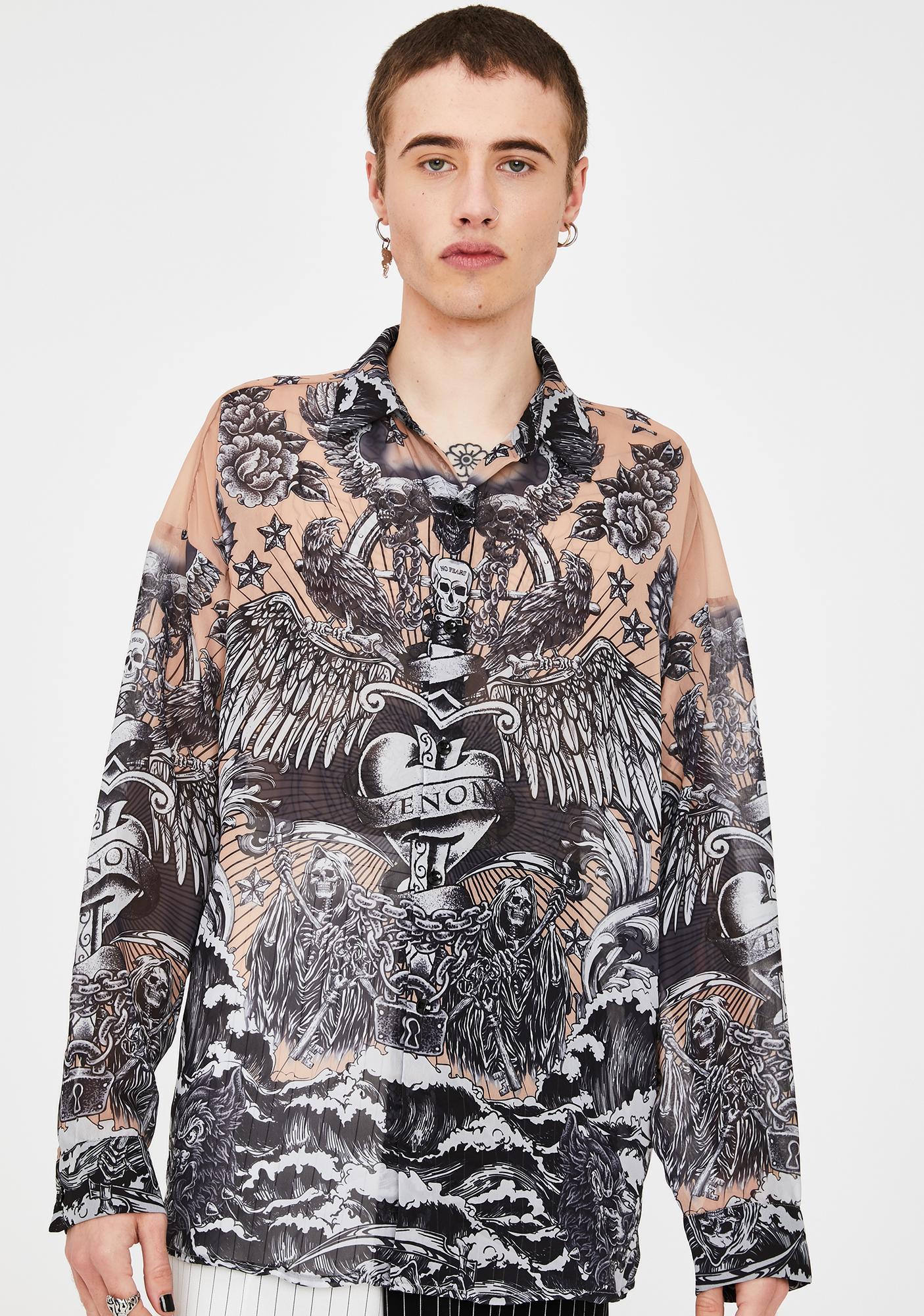 Jaded London Tattoo Print Chiffon Button Up Shirt