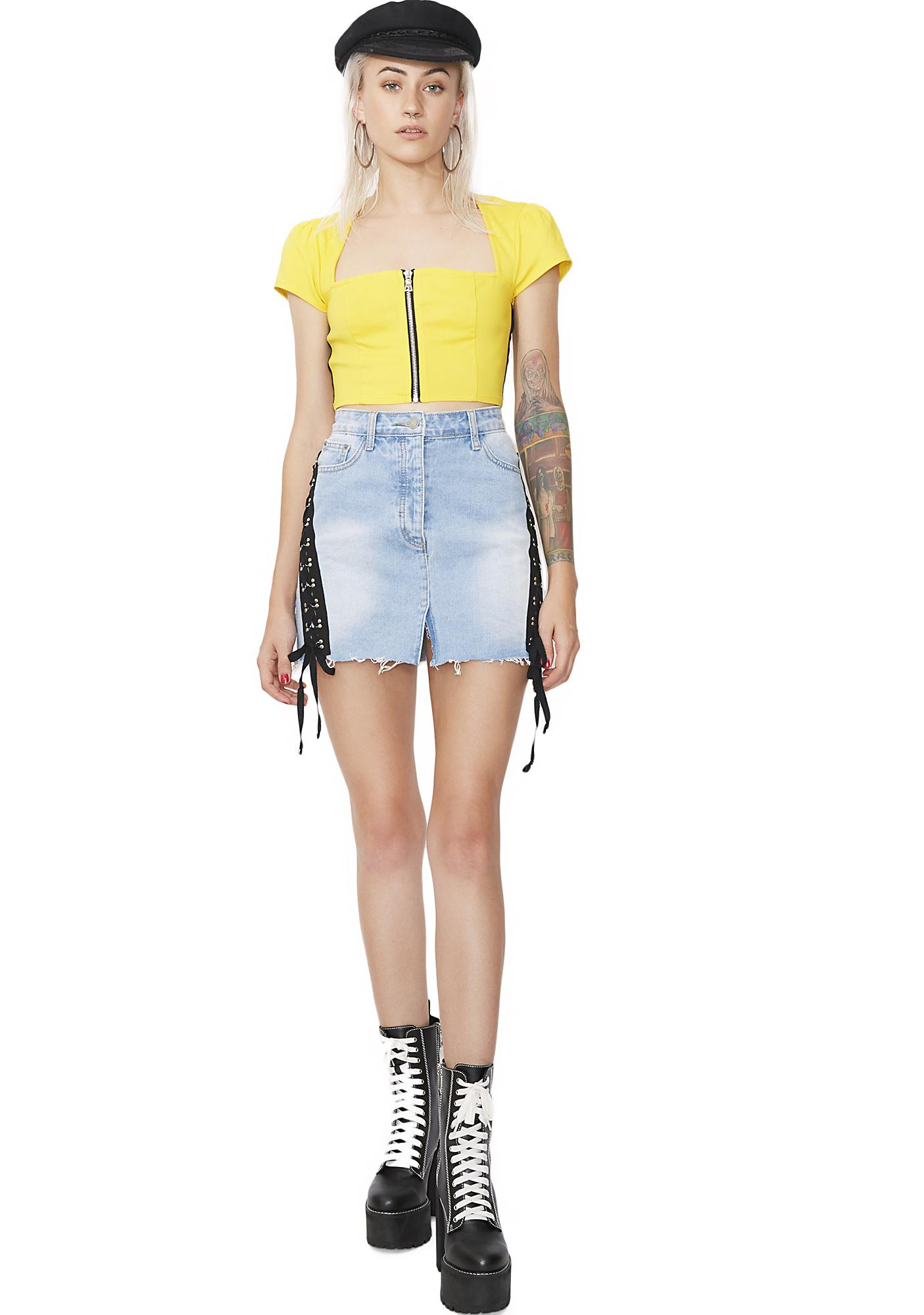Glamorous Side Note Lace Up Denim Skirt