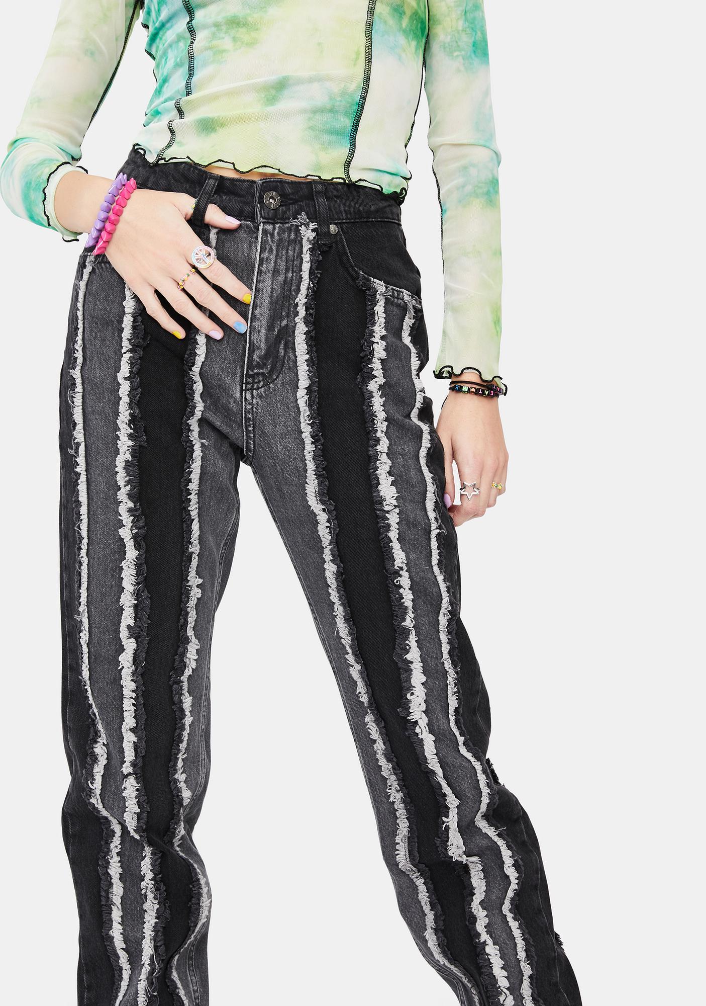 The Ragged Priest Charcoal Breacher Distressed Denim Jeans