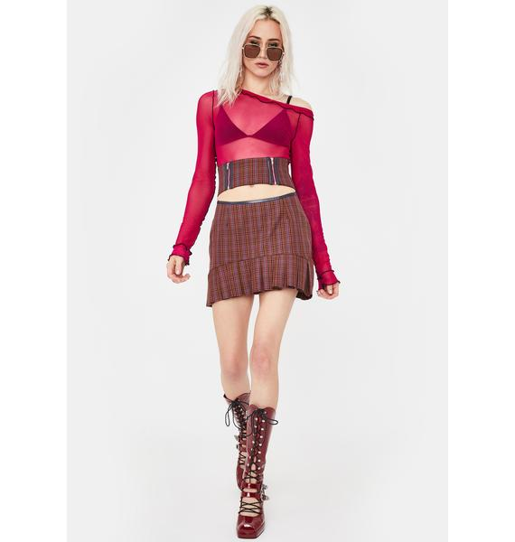 No Dress Brown Checkered Pleated Skirt