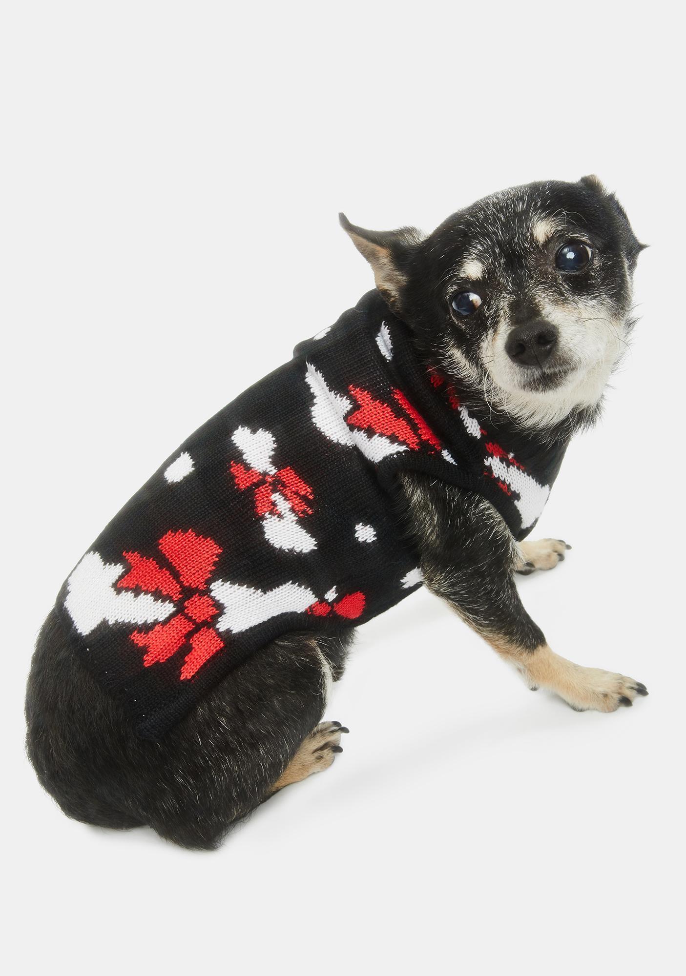 Tipsy Elves Bow Bones Dog Sweater