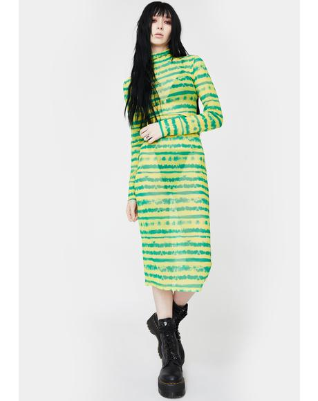 Lime Gimme A Beat Mesh Midi Dress