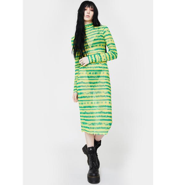 Kiki Riki Lime Gimme A Beat Mesh Midi Dress