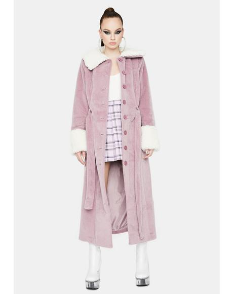 Collegiate Sass Faux Fur Trench Coat