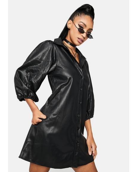 So It Goes Faux Leather Mini Dress
