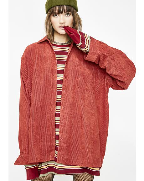 Like It Ruff Corduroy Shirt Dress
