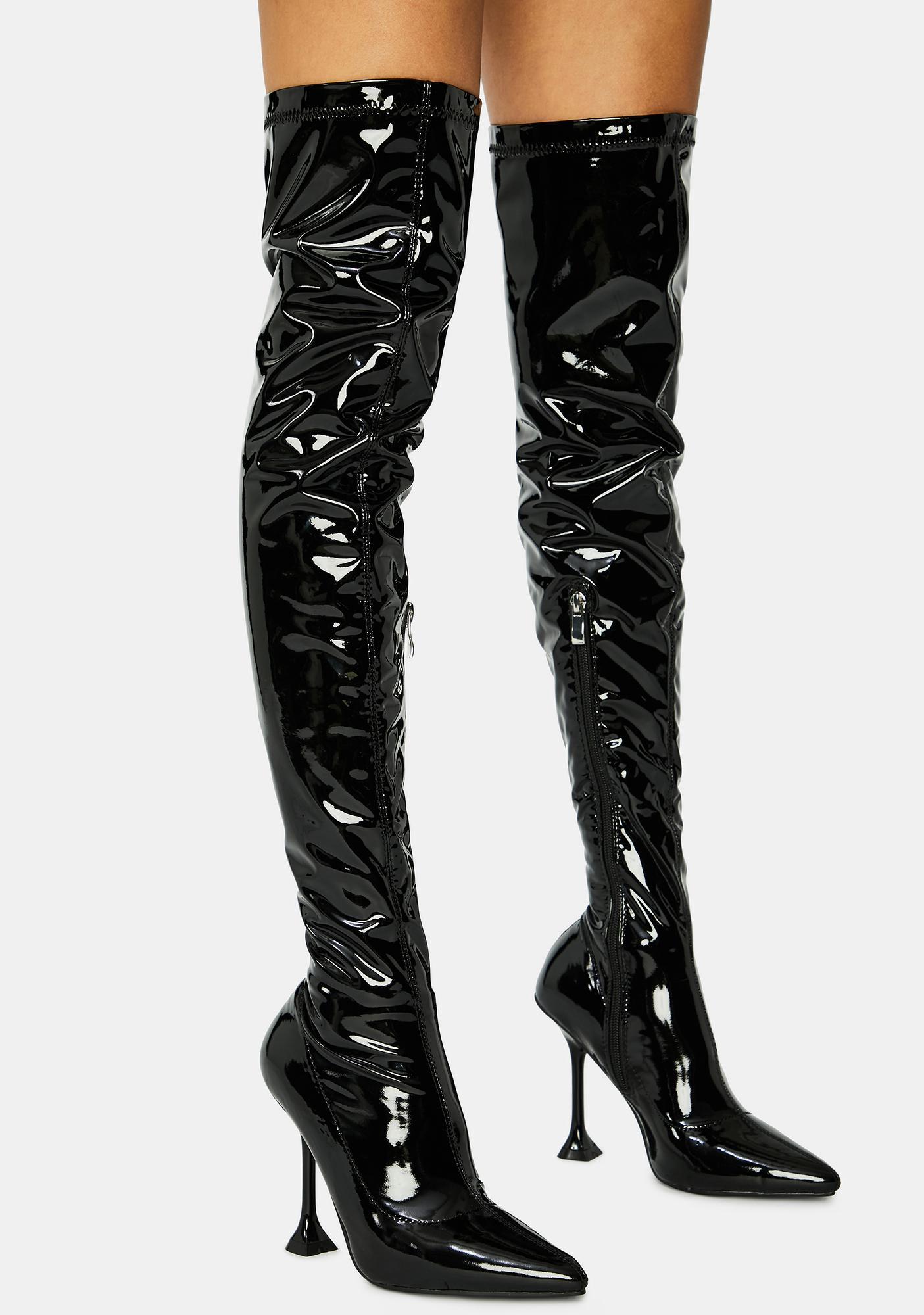 AZALEA WANG Checkmate Thigh High Boots