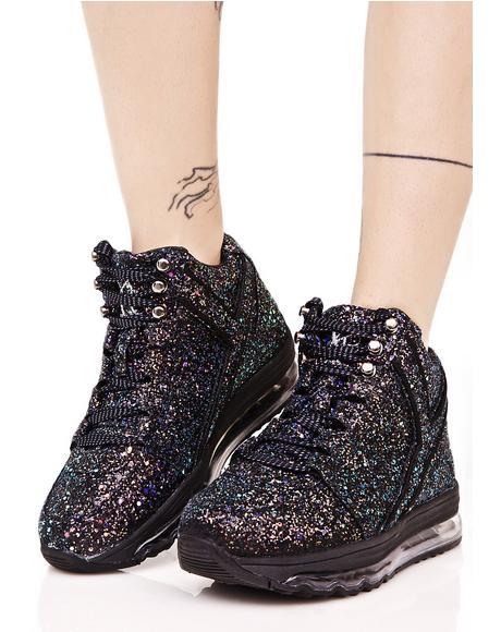 Black Qozmo Aiire Glitter Sneaker