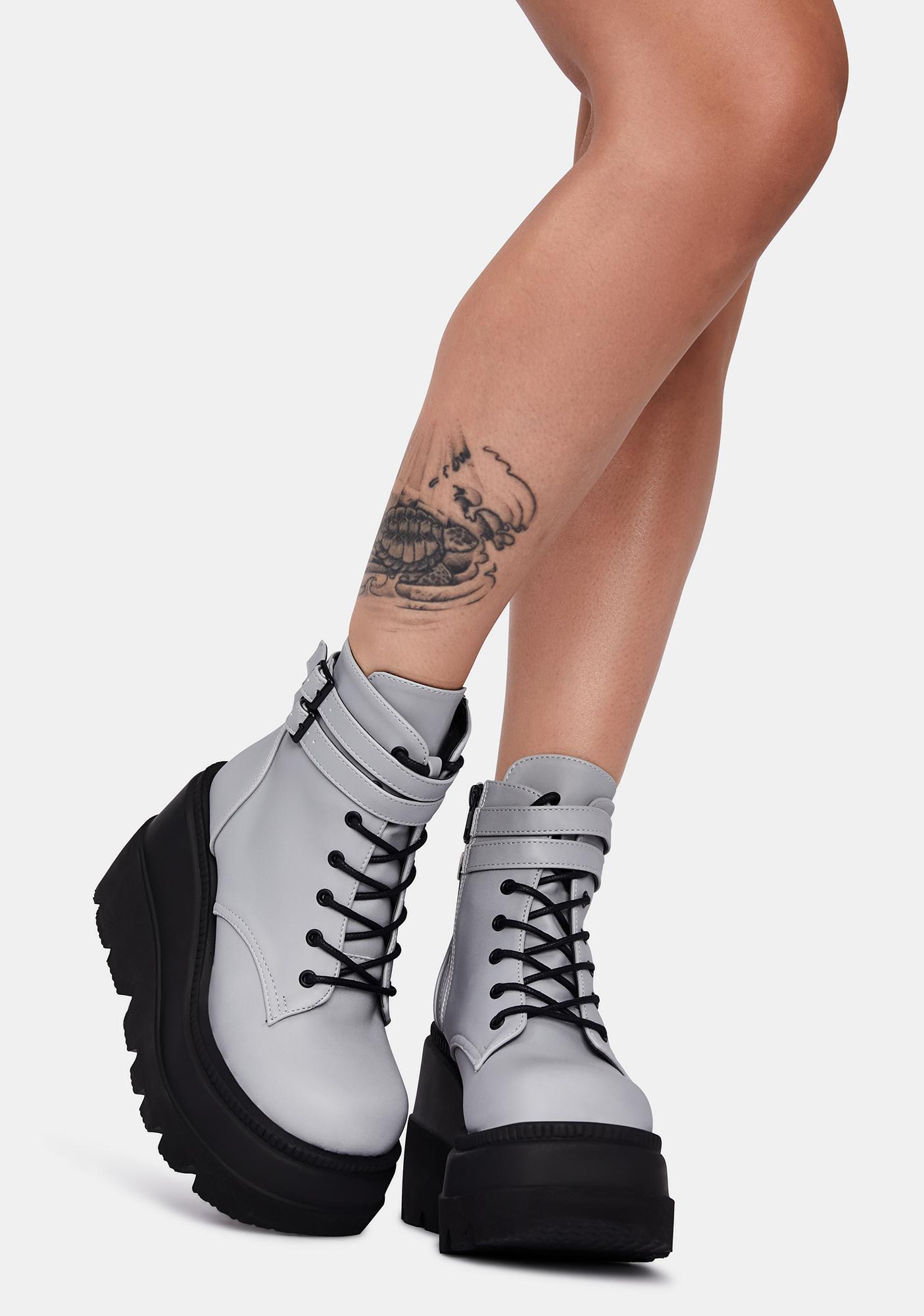 Demonia Reflective Technopagan Platform Boots