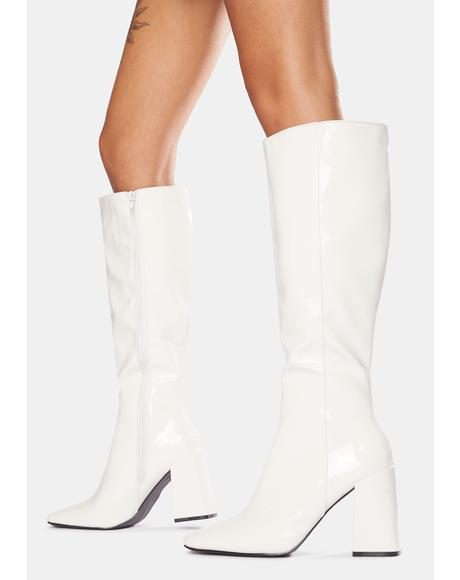 White Apology Patent Knee High Boots