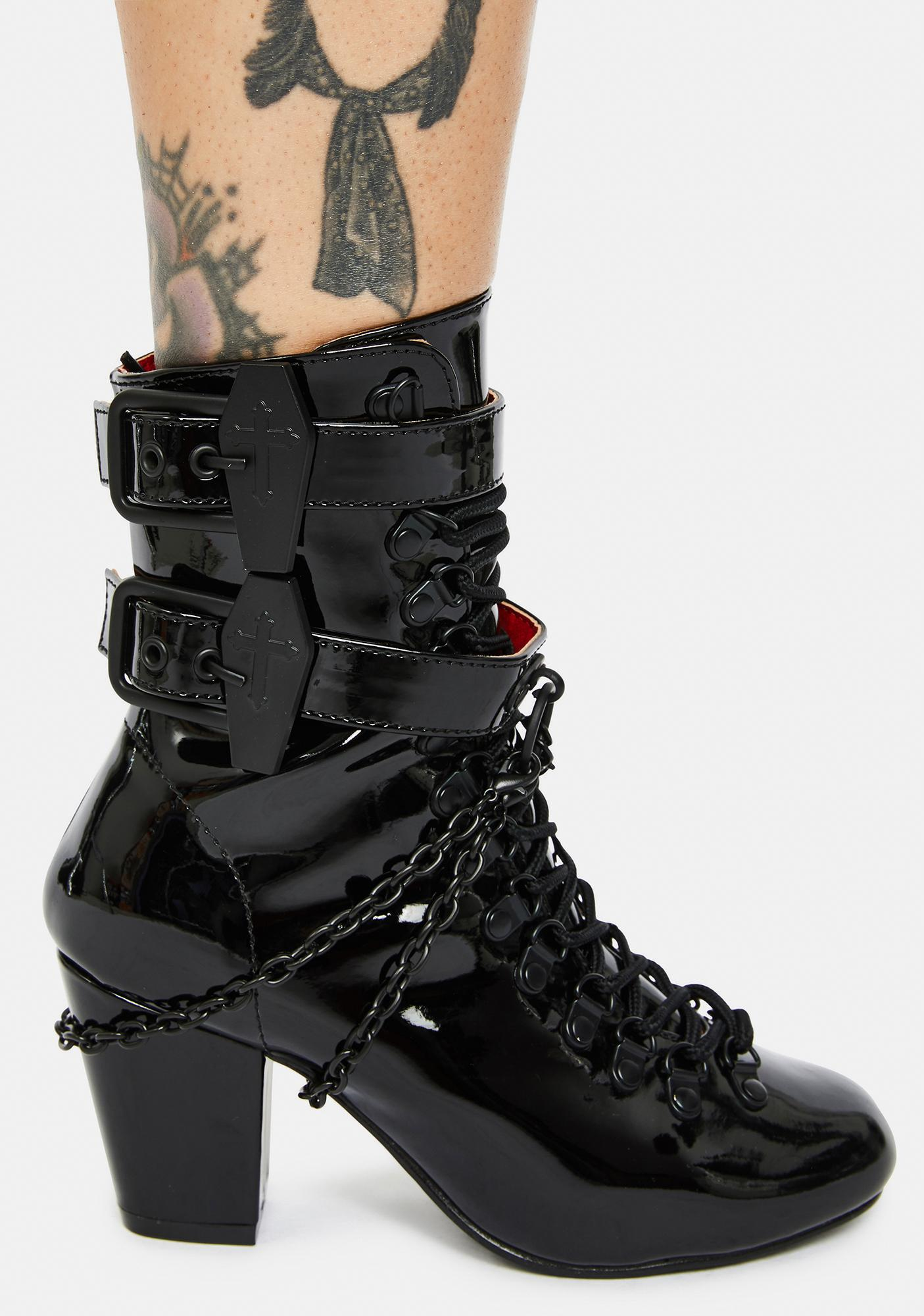 Demonia Patent Lost Tomb Chain Lace Up Boots