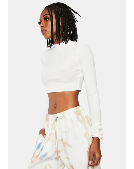 Snow Brush It Off Mock Neck Crop Top