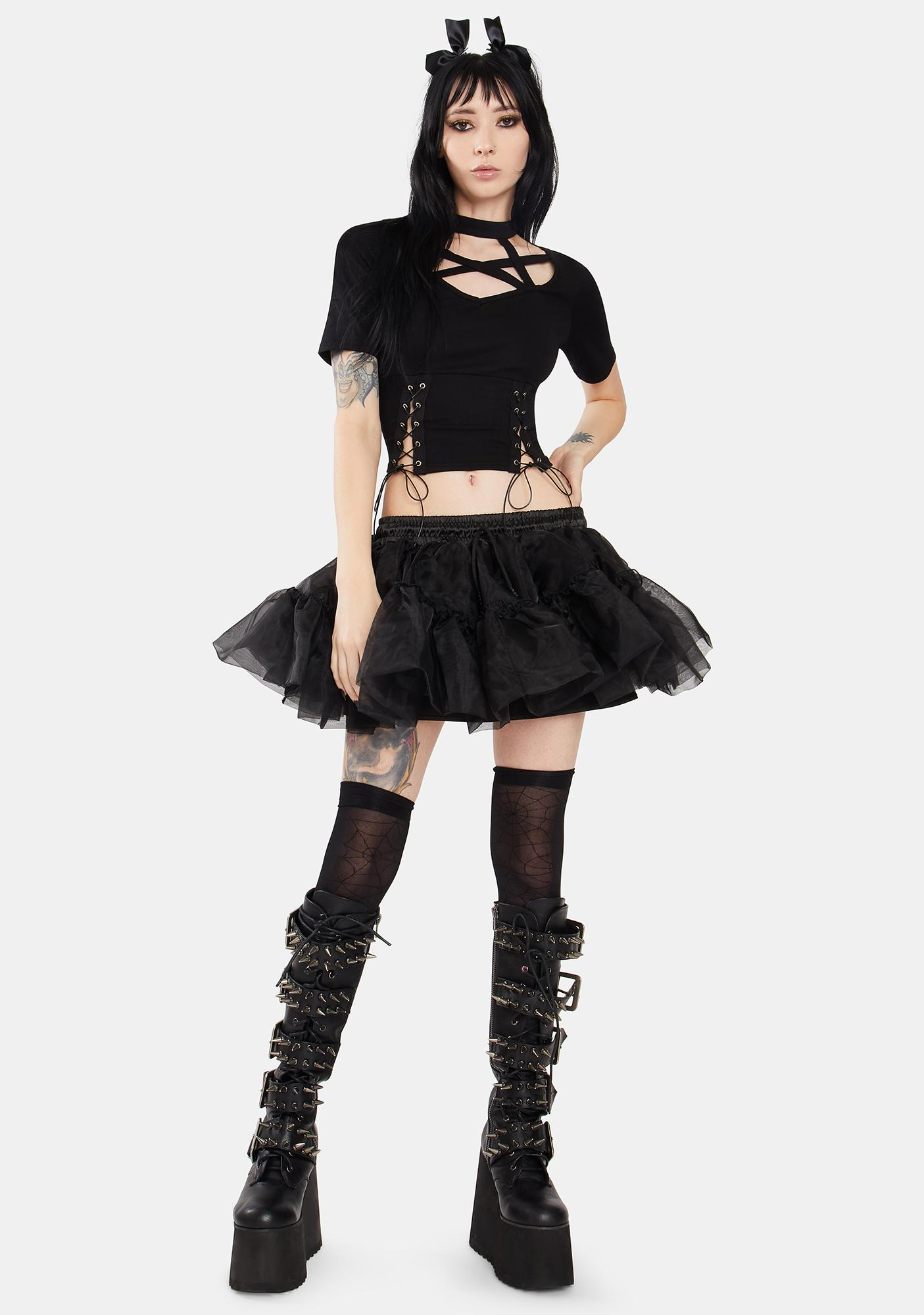 Dark In Love Pentacle Cutout Strappy High Neck Lace Up Tee
