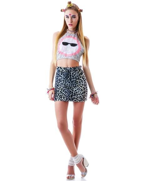 Snow Leopard Mini Tube Skirt