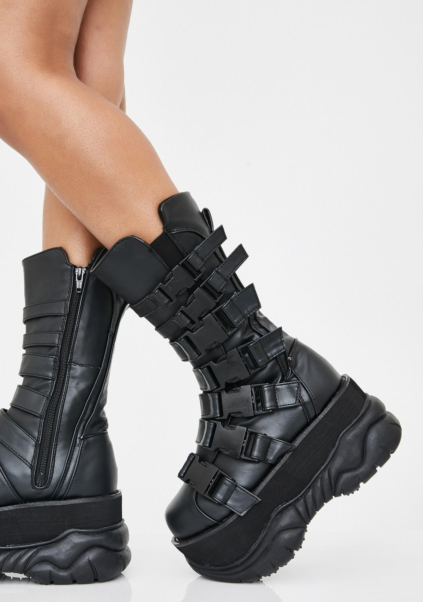 low priced reputable site superior quality Demonia Unisex Chunky Buckle Strap Platform Boots | Dolls Kill