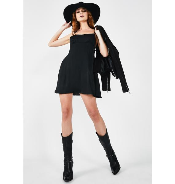 Free People Black Smooth Sailin' Mini Slip Dress
