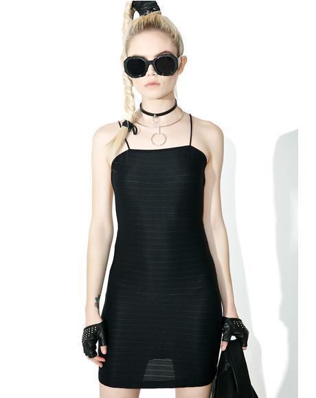 Rib Black Pilcher Dress