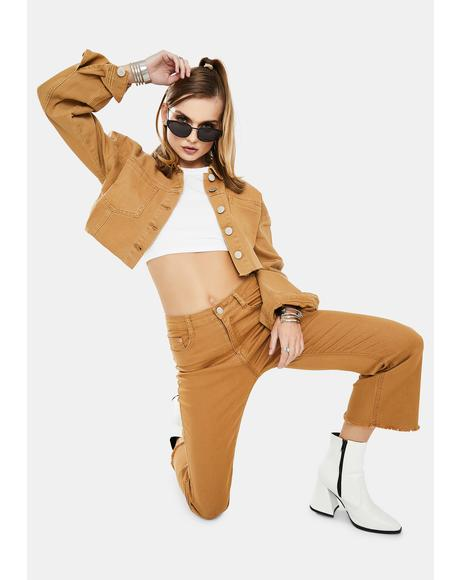 Tobacco Cropped Jacket