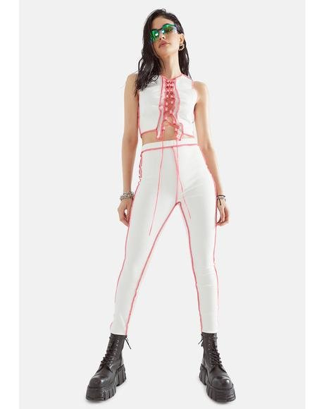 Icy The Truth Stings Contrast Stitch Pants Set
